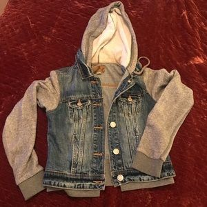 Denim jacket with sweatshirt hood size S